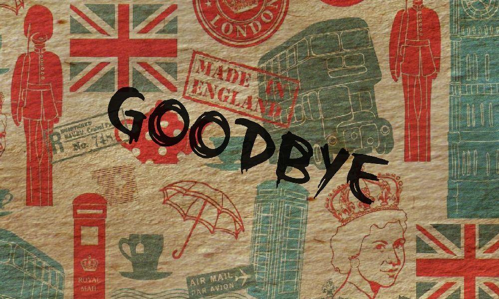 「GOODBYE」と書かれた旗