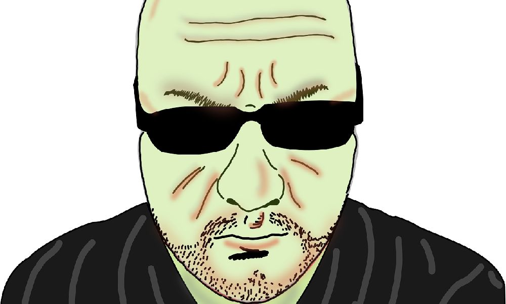 サングラスをして怒る無精髭でサングラスを掛けたスキンヘッドの彼氏