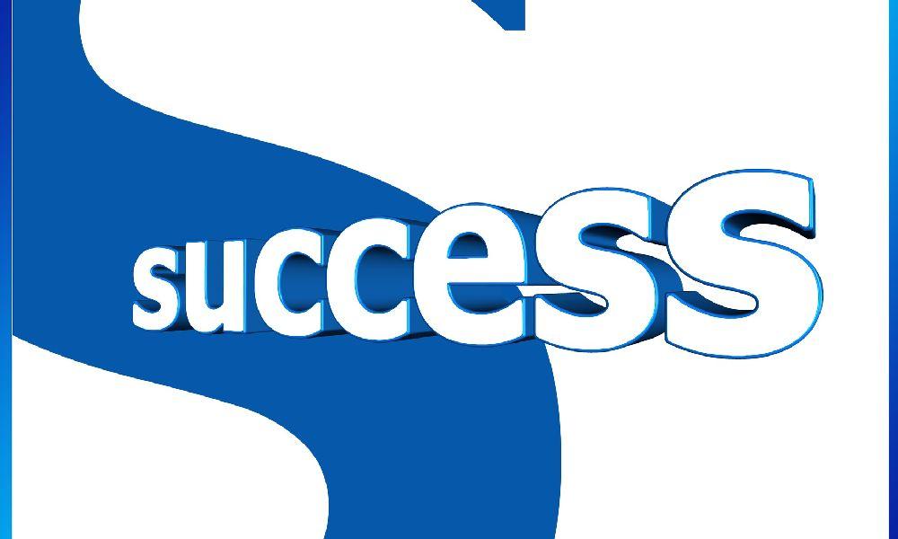 """青と白で""""成功""""と書かれたロゴ"""