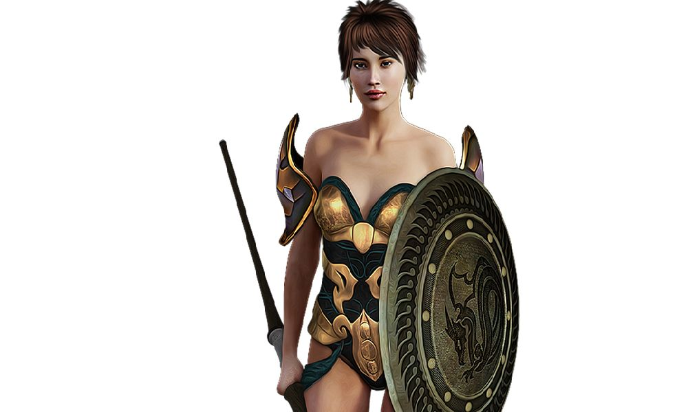 盾で防止するショートヘアの女性騎士