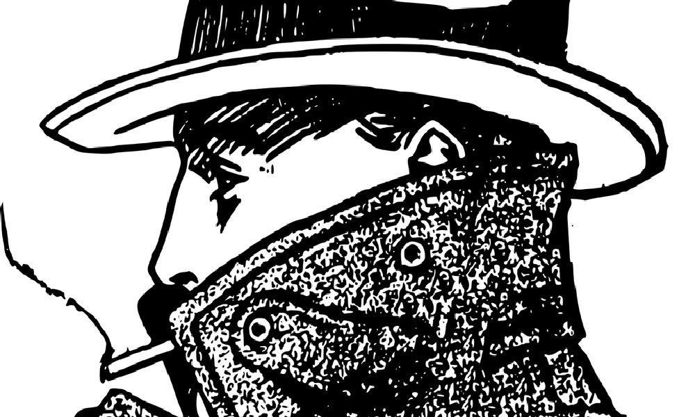 タバコを加える探偵の横顔。コートの襟を立て、ハットを被っています。