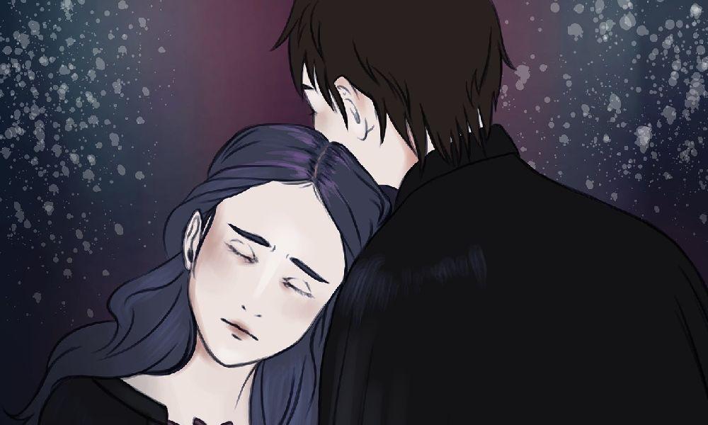 妻が若い男と抱き合っているイラスト。妻は浮気相手の男性の方に寄りかかって目を閉じている。